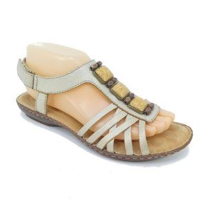 Clarks Jeweled Gold Leather Open Toe Sandals